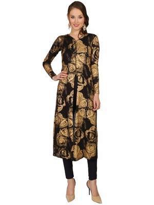 ira-soleil Black all over folrasl printed Long jacket Kurti made in Viscose Fabric