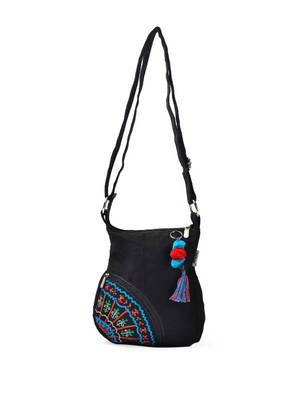 Black printed sling bag with side pocket pp35 A  muhenera bags collection