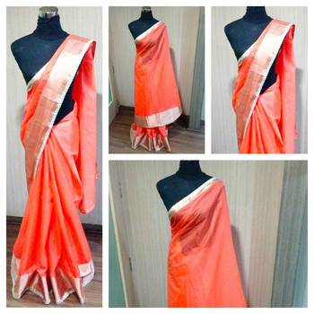 Orange Banarasi Net Saree