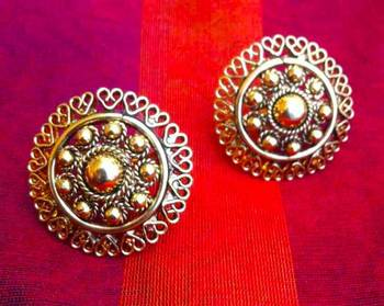 South India temple style jewelry golden flower ethnic Adiva copper stud