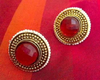 Rani Pink stone South India style ADIVA Copper stud
