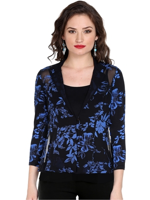 Ira soleil black all over floral print of polyester lycra with poly chiffon top
