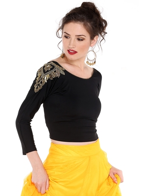 Ira soleil black embrodered pacth with made of polyester lycra short top