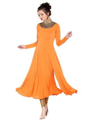 Ira soleil Orange made of polyester lycra with neck embroidered neckline long anarkali kurta