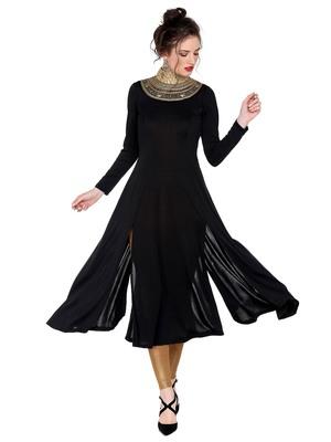 Ira soleil Black made of polyester lycra with neck embroidered neckline long anarkali kurta