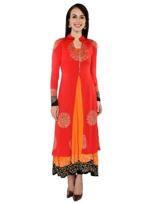 Ira soleil 2 pc set of Orange polyester lycra anarkali inner with Black Kurta