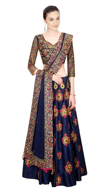 Dark blue art silk embroidered lehenga with dupatta