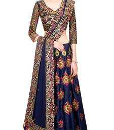 dark_blue art silk embroidered lehenga with dupatta