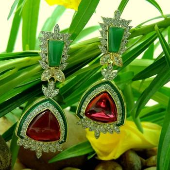 Designer Red and Green Color Stone Studded AD Earrings