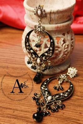 Royal Jewel Black Diamonds Earrings with Black Stones & crystal embedded