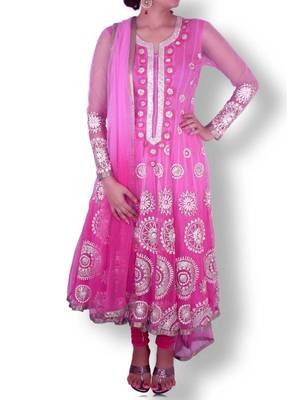 Pink Shaded Net Anarkali with Gold/Silver Gota Patti Work - Sweta Sutariya