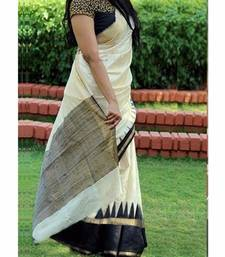 Buy White and black printed art silk saree with blouse fancy-saree online
