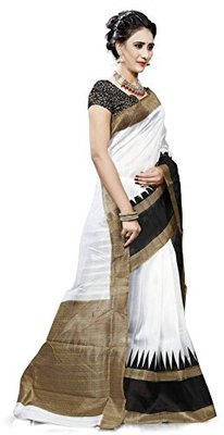 Black and white printed art silk saree with blouse