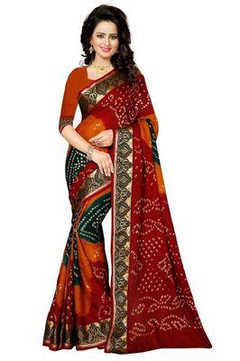 Dark green and dark yellow and dark red printed art silk saree with blouse