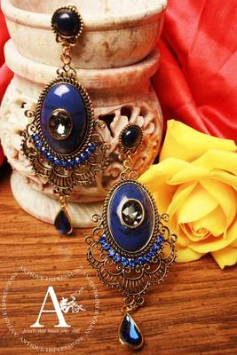Olden Era Blue Diamond Chandelier earrings with Blue-Black shaped Stones, designed by Antique Impressions