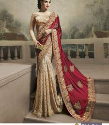 Buy Beige embroidered satin saree with blouse women-ethnic-wear online