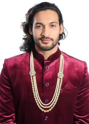 Exclusive Design Dulha Mala Gold Finish Pearl And Stone For Men