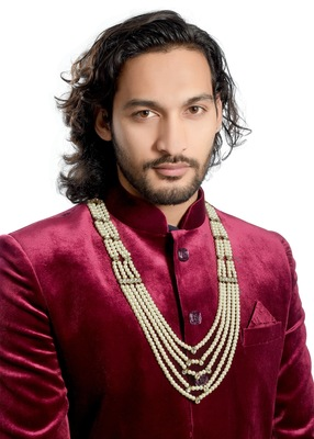 Wedding Wear 5 Line Dulha Mala With Pearl And Stone For Men