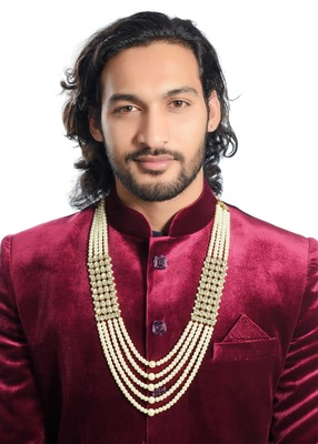 White pearl 5 line dulha mala with pearl and stone for men