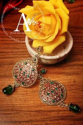 Maharani Green earrings with Green gems peacock chandelier earrings