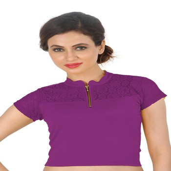 Magenta Cotton Lycra  stitched blouse