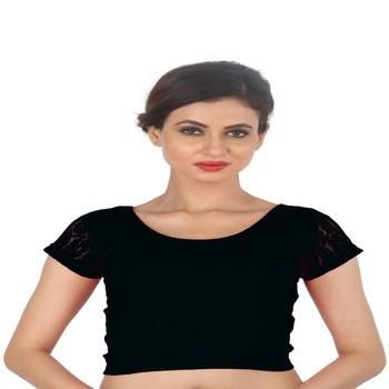 Black Cotton Lycra  stitched blouse