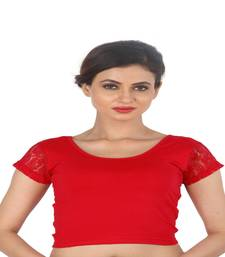 Red Cotton Lycra  stitched blouse