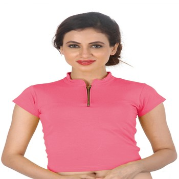 Light Pink Cotton Lycra  stitched blouse