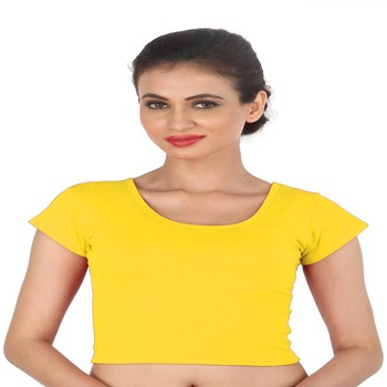 Yellow Cotton Lycra  stitched blouse