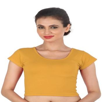 Beige Cotton Lycra  stitched blouse