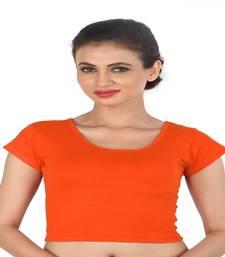 Orange Cotton Lycra  stitched blouse