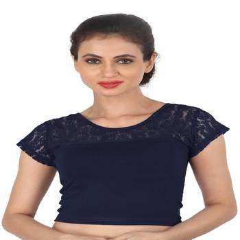 Nevy Blue Cotton Lycra  stitched blouse