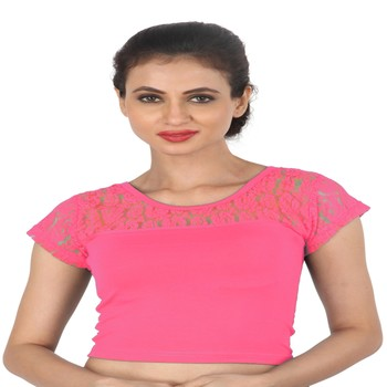 Light Pink Cotton Lycra  stitched blouse