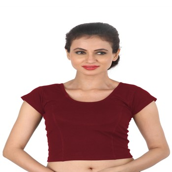 Maroon Cotton Lycra  stitched blouse