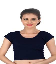 Navy Blue Cotton Lycra  stitched blouse