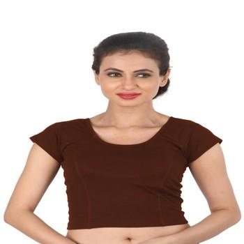 Brown Cotton Lycra  stitched blouse