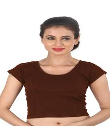 Brown Cotton Lycra  stitched blouse