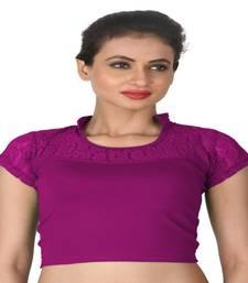 Magenta Cotton Lycra  stitched blouse