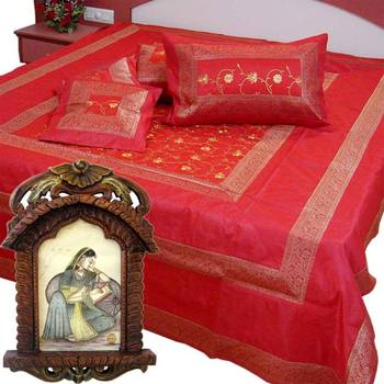 Buy Silk Double Bedcover Set n Get Photoframe Free