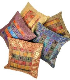 Buy Brocade Multi -Colour Cushion Cover 5 Pc. Set bed-sheet online