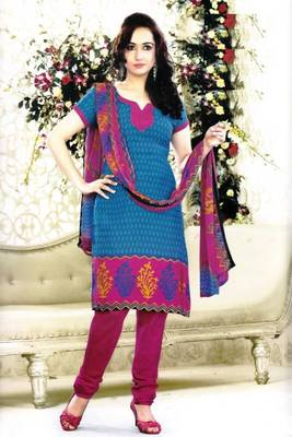 Elegant Poly Cotton Printed Unstitched Dress Material D.No B1079
