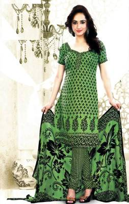 Elegant Poly Cotton Printed Unstitched Dress Material D.No B1080