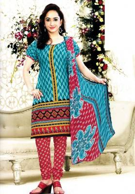 Elegant Poly Cotton Printed Unstitched Dress Material D.No B1085