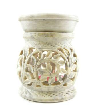 Round hand carved  floral design stone oil burner