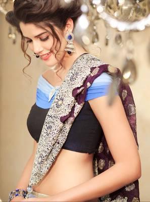 Beautiful Blue Shaded Stonework Sari