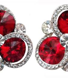 Buy Maroon crystal earrings Earring online