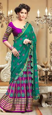 Elegant Pink Georgette Sari With Velvet Borders
