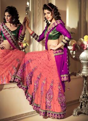 Beautiful Pink Georgette+Net Embroidered Sari