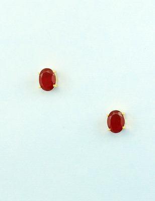 Ruby red cz ad american diamond stud earrings jewellery for women
