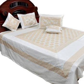Cream White Silk Double Bed Cover with 4 pillow cover